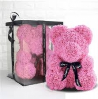 Мишка из роз Teddy Bear 23 см розовый
