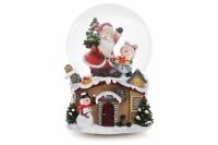Декоративный музыкальный водяной шар Санта и снеговик 15,5 см