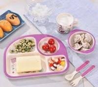 Фото Детская бамбуковая посуда 3 в 1 Русалка (лиловый)