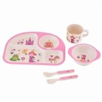 Детская бамбуковая посуда 3 в 1 Принцесса (розовый)