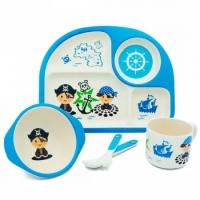 Фото Детская бамбуковая посуда 3 в 1 Пират (голубой)