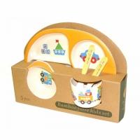 Фото Детская бамбуковая посуда 3 в 1 Кораблик (желтый)