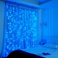 Гирлянда светодиодная Водопад 280 LED, прозрачный шнур 3х2 м (Синий)