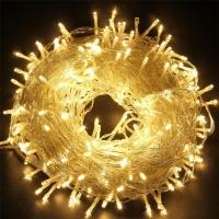 Гирлянда светодиодная 25 м на 500 LED, прозрачный шнур (Желтый)