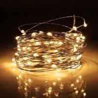 Гирлянда светодиодная роса на батарейках 10 м, 100 LED (Желтый)
