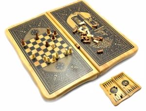Нарды с шахматами бамбуковые Баку