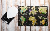 Фото Набор Скретч Открытка Карта Мира в конверте