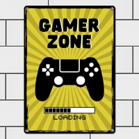 Табличка интерьерная металлическая Gamer zone