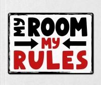 Табличка интерьерная металлическая My room my rules