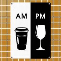 Табличка интерьерная металлическая Что пить утром и вечером