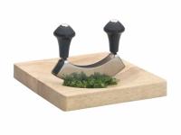 KC Нож для зелени из нержавеющей стали с деревянной доской
