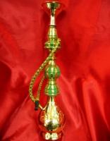 Кальян (на 1 персону)(15 см.) БРОНЗА+ТКАНЬ зеленый с желтым