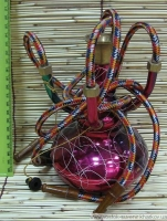 Кальян (на 4 персоны)(18 см.) бронзовый малиновый