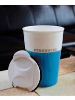 Керамическая чашка с крышкой голубая VIA STARBUCKS