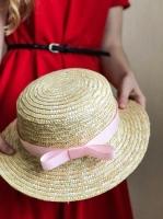 Соломенная шляпа канотье розовая лента