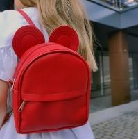 Сумка рюкзак трансформер Ушки как у мышки (красный)
