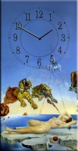Часы на холсте Сон, (Сальвадор Дали) 25х50