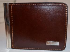 Зажим для денег с кармашеком для мелочи натуральная кожа №3