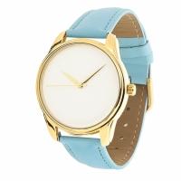 Часы Наручные Минимализм Голубой Gold