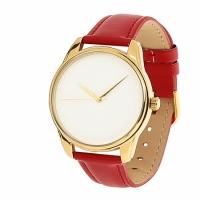 Часы Наручные Минимализм Красный Gold