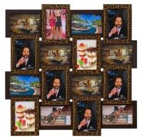 Деревянная мультирамка Золотой шоколад на 16 фото