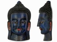 Этническая маска Будда 55 см синяя