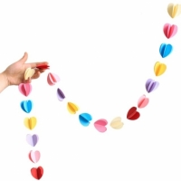 Гирлянда бумажная объемная 3D Сердечки