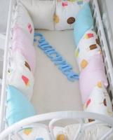 Комплект бортиков в кроватку и простынь Мороженое 12 шт.
