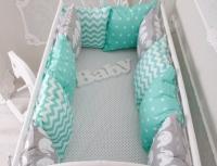 Комплект бортиков в кроватку и простынь Мятный 12 шт.