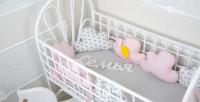 Комплект бортиков в кроватку и простынь Облачка для Девочки 9 шт.