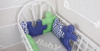 Комплект бортиков в кроватку и простынь Пазлы Синее небо 6 шт.