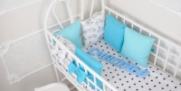Комплект бортиков в кроватку и простынь Весенние Велосипеды 6 шт.
