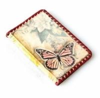Кожаная Обложка на паспорт Бабочка с 3D тиснением