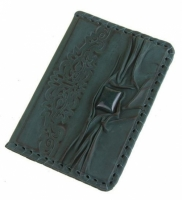 Кожаная Обложка на паспорт с камнем Яшма