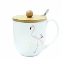 Фото Кружка с крышкой Фламинго