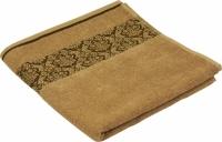 Махровое жаккардовое гладкокрашенное полотенце бежевое70х140 см