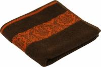 Махровое жаккардовое гладкокрашенное полотенце шоколадное 70х140 см