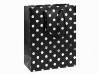 Фото Подарочный Пакет Черный Горошек 24 см