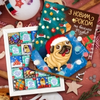 Фото Шоколадный набор Новогодний мопс 100г