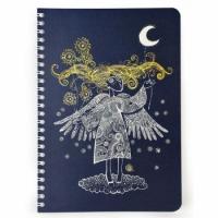 Скетчбук Crazy Sketches - Серебряная ниточка на пружине, синие листы