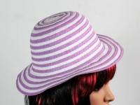 Соломенная шляпа детская Энфант 28 см бело-сиреневая