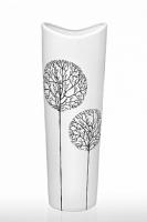 Ваза глянцевая Деревья белая 39 см