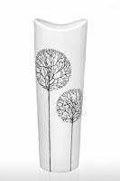 Ваза глянцевая Деревья белая 30 см