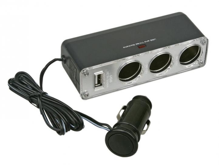 Фото - Разветвитель прикуривателя на 3 гнезда с USB купить в киеве на подарок, цена, отзывы