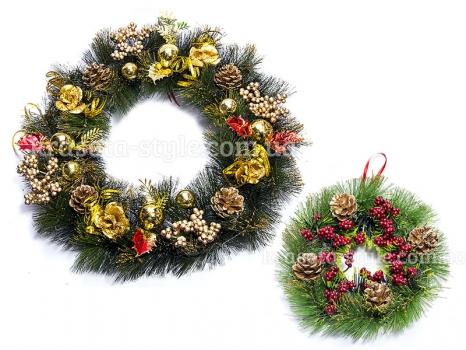 Фото - Венок новогодний 2 шт Голди купить в киеве на подарок, цена, отзывы