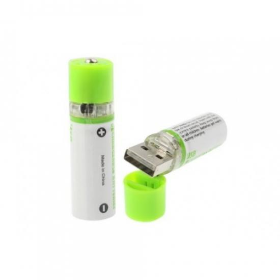 Фото - Вечная аккумуляторная батарейка АА 1450mAh 1.2V (заряжается от USB) 2шт купить в киеве на подарок, цена, отзывы