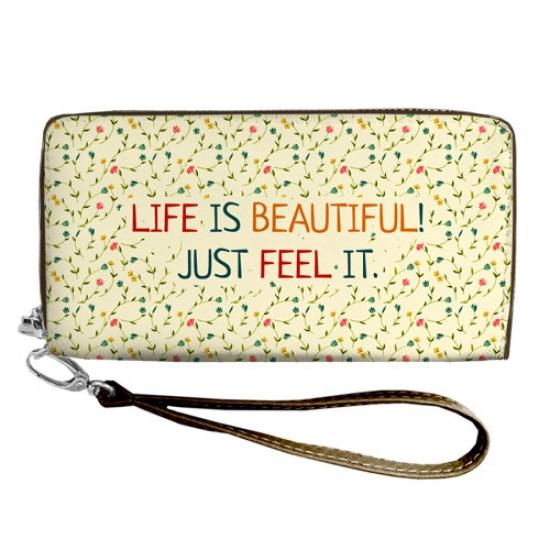 Фото - Кошелёк клатч тканевый жизнь прекрасна купить в киеве на подарок, цена, отзывы