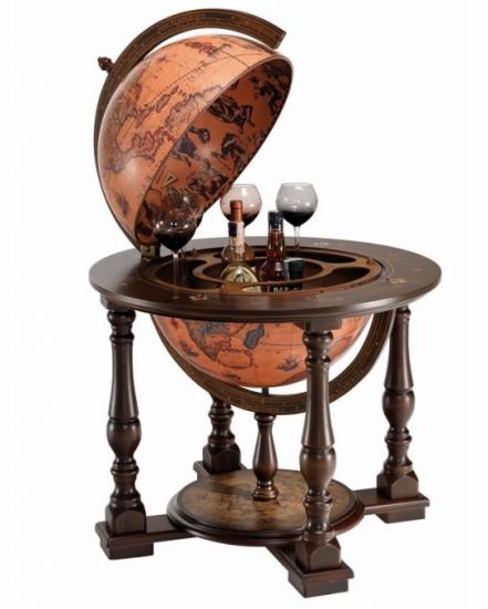 Фото - Глобус бар напольный коричневый прочный купить в киеве на подарок, цена, отзывы