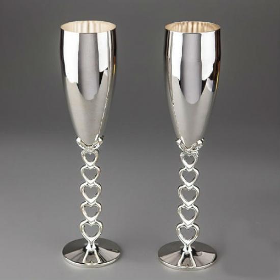 Фото - Свадебные бокалы серебренные сердечки купить в киеве на подарок, цена, отзывы