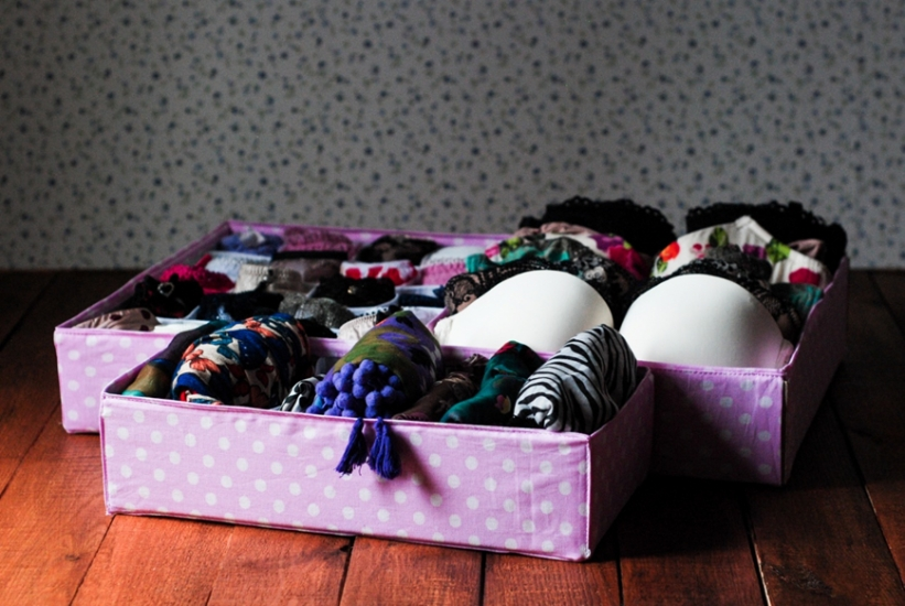 Фото - Комплект органайзеров из 3 шт розовый в белый горошек купить в киеве на подарок, цена, отзывы